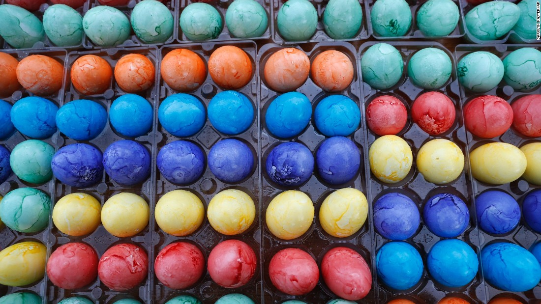 Colored Easter eggs ready to be used during the White House Easter Egg Roll.