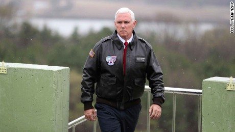 "U.S. Vice President Mike Pence arrives at Observation Post Ouellette in the Demilitarized Zone (DMZ), near the border village of Panmunjom, which has separated the two Koreas since the Korean War, South Korea, Monday, April 17, 2017.  Pence says the ""era of strategic patience is over"" with North Korea, expressing impatience with the willingness of the North Korean regime to move toward ridding itself of nuclear weapons and ballistic missiles. His 10-day tour of Asia comes as tensions grow in the wake of North Korea's latest missile test. (AP Photo/Lee Jin-man)"