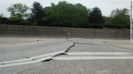 A section of I-20 in Atlanta buckled on Monday.