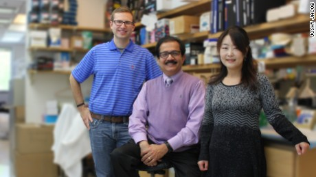Professor Joshy Jacob, in middle, seen with his colleagues David Holthausen (on left) and Song Hee Lee (on right).