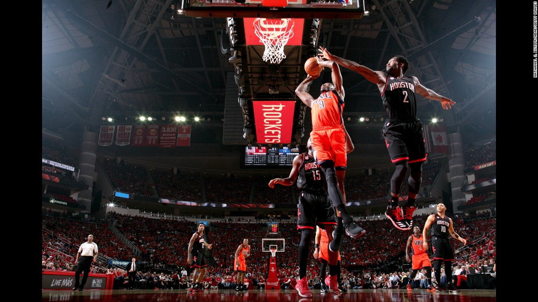Jerami Grant of Oklahoma City goes for a shot during an NBA first round playoff game at Houston on Sunday, April 16. Houston won 118-87.