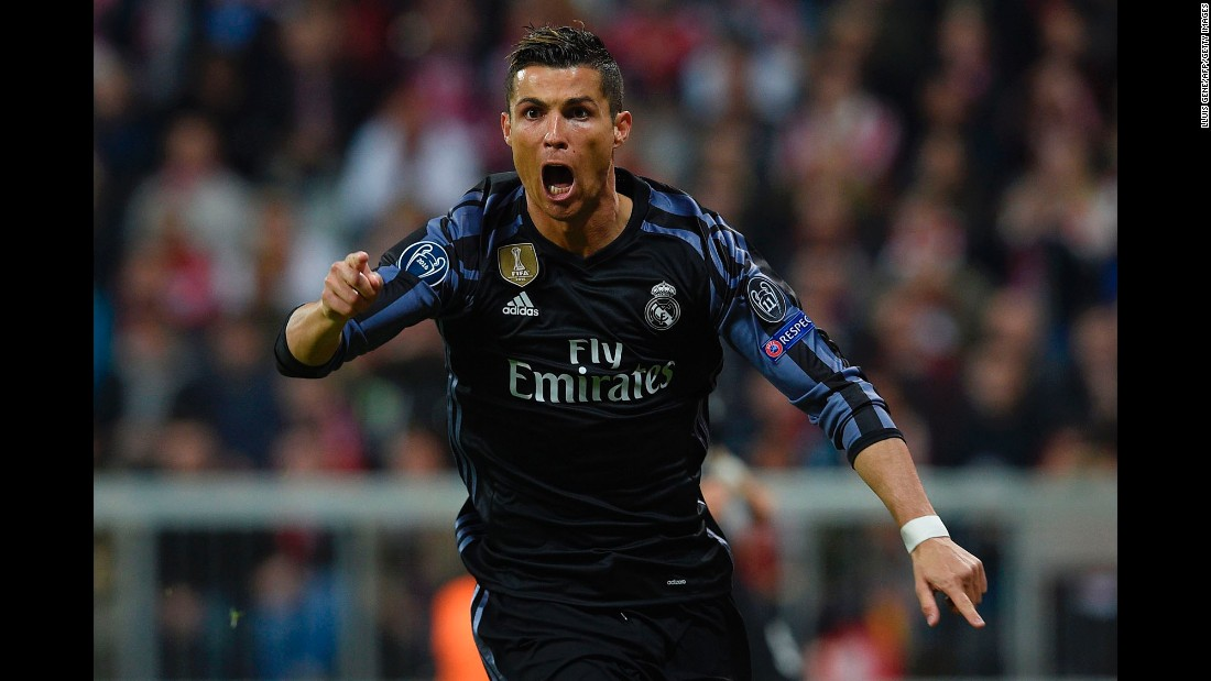 Real Madrid's Cristiano Ronaldo celebrates scoring an equalizer during a UEFA Champions League quarterfinal match against Bayern Munich on Wednesday, April 12. Ronaldo would score again, with his team defeating Bayern Munich 2-1.