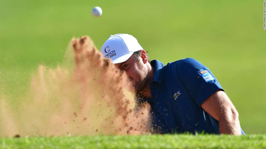 Damien Perrier of France plays a shot during the third round of the Trophee Hassan II golf competition in Rabat, Morocco, on Saturday, April 15.