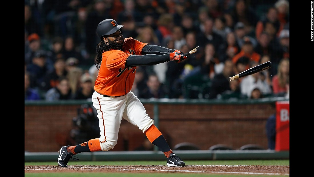 Johnny Cueto of San Francisco breaks his bat during a home game against Colorado on Friday, April 14. San Francisco won 8-2.