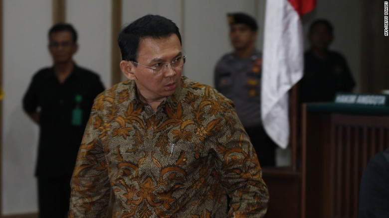Jakarta's Governor Basuki Tjahaja Purnama, also known as Ahok, inside the courtroom during his blasphemy trial on April 11.