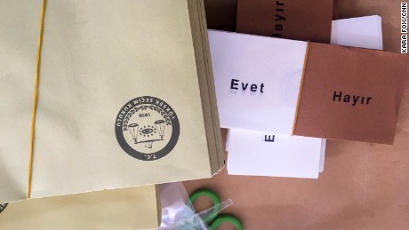 "Official ballots with the words ""Evet"" (""Yes"") or ""Hayir"" (""No"") are seen at a polling station in Ankara on Sunday."