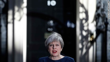 Britain's Prime Minister Theresa May arrives to speak to the media outside her official residence of 10 Downing Street in London, Tuesday April 18, 2017. British Prime Minister Theresa May announced she will seek early election on June 8 (AP Photo/Alastair Grant)