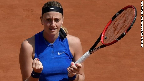 Czech Republic's Petra Kvitova reacts after winning a point against Taiwan's Su-Wei Hsieh during their women's second round match at the Roland Garros 2016 French Tennis Open in Paris on May 25, 2016. / AFP / PHILIPPE LOPEZ        (Photo credit should read PHILIPPE LOPEZ/AFP/Getty Images)