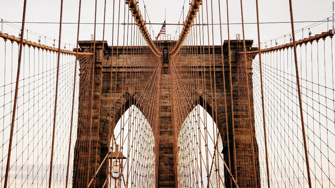 <strong>Brooklyn Bridge:</strong> The no-cars-allowed bridge between Brooklyn and Manhattan was completed in 1883.