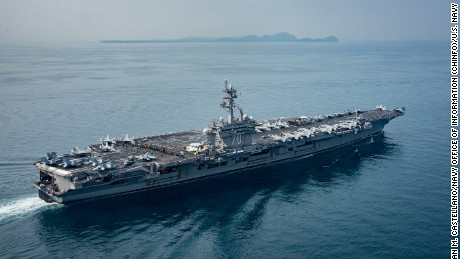 The aircraft carrier USS Carl Vinson in the Sunda Strait, Indonesia, on April 12.