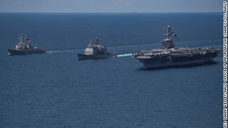 The aircraft carrier USS Carl Vinson and its escorts seen in the Indian Ocean, April 14.