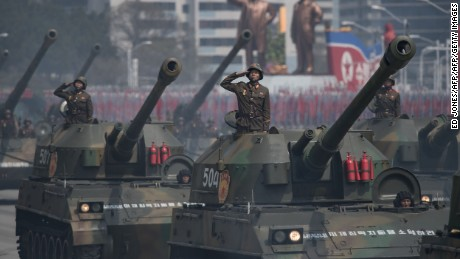 Korean People's Army (KPA) tanks are displayed during a military parade marking the 105th anniversary of the birth of late North Korean leader Kim Il-Sung, in Pyongyang on April 15, 2017.   / AFP PHOTO / ED JONES        (Photo credit should read ED JONES/AFP/Getty Images)
