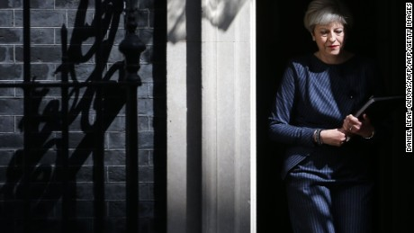British Prime Minister Theresa May walks out of 10 Downing Street to speak to media in central London on April 18, 2017. British Prime Minister Theresa May called today for an early general election on June 8 in a surprise announcement as Britain prepares for delicate negotiations on leaving the European Union. / AFP PHOTO / Daniel LEAL-OLIVAS        (Photo credit should read DANIEL LEAL-OLIVAS/AFP/Getty Images)