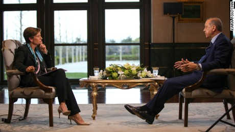 CNN's Becky Anderson interviewed Erdogan in Ankara on Tuesday.