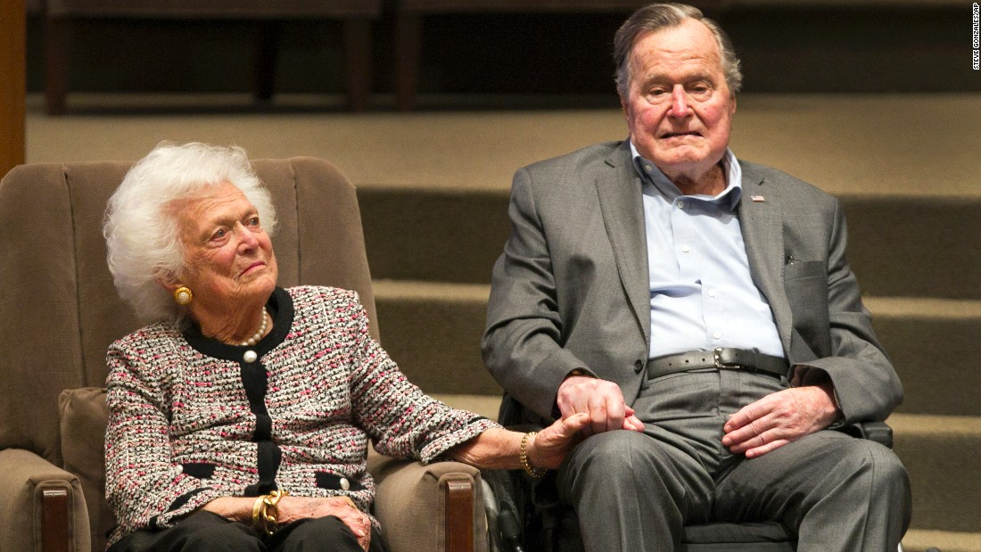 Former President George H.W. Bush and former first lady Barbara Bush attend an awards ceremony hosted by Congregation Beth Israel on Wednesday, March 8, 2017, in Houston. The former president was presented with the annual Mensch Award by the Mensch International Foundation.