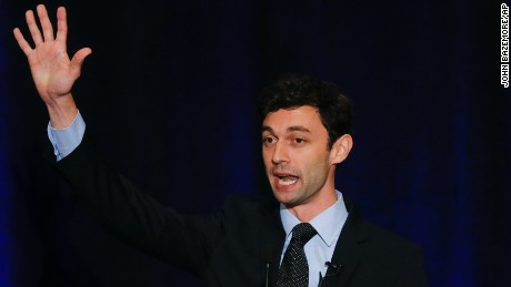 Democratic candidate for Georgia's Sixth Congressional Seat Jon Ossoff speaks to supporters during an election-night watch party Tuesday, April 18, 2017, in Dunwoody, Ga.