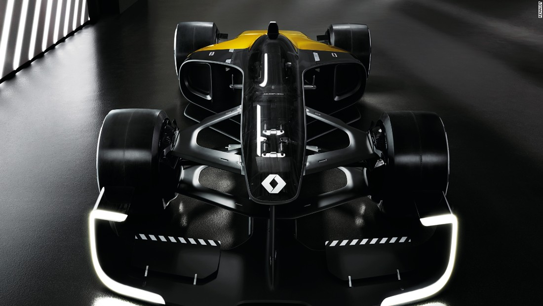To celebrate 40 years in Formula One, Renault has released its vision for racing cars in 2027 -- a sleeker, greener model compared to its 2017 counterpart.
