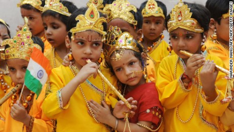 School children dressed as Hindu God Lord Krishna and Radha reenact the Mahabharata mythology in Amritsar, India.