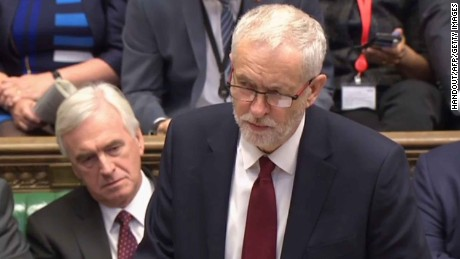 Labour Party leader Jeremy Corbyn speaks in the House of Commons in London last month.