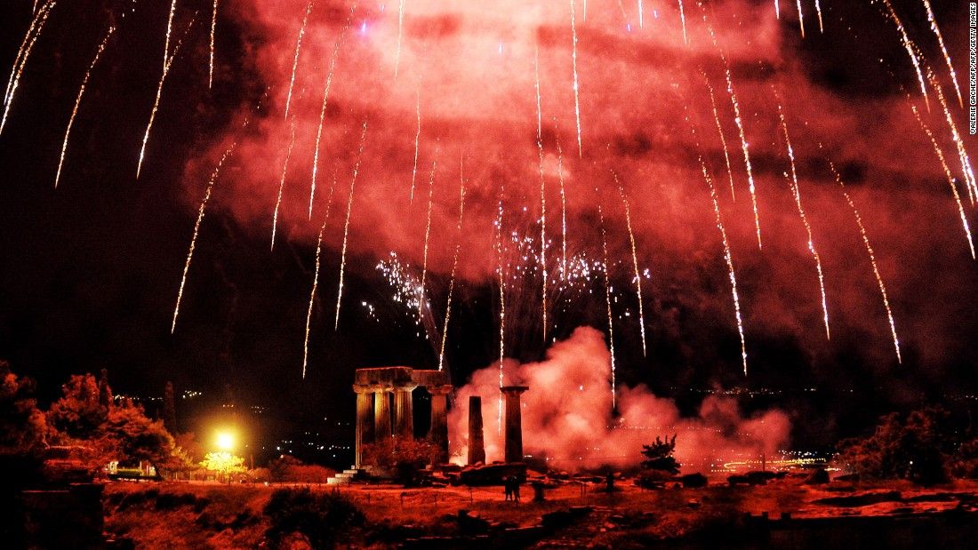 <strong>Corinth, Greece:</strong> Fireworks over the Temple of Appolo celebrate the arrival of Easter on the Greek Orthodox calendar.