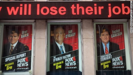 NEW YORK, NY - APRIL 19: Advertisements for Fox News personalities, including Bill O'Reilly, stand in the windows outside of the News Corp. and Fox News headquarters in Midtown Manhattan, April 19, 2017 in New York City. Fox News television personality Bill O'Reilly's future at the network is uncertain following numerous claims of sexual harassment and subsequent legal settlements. (Photo by Drew Angerer/Getty Images)