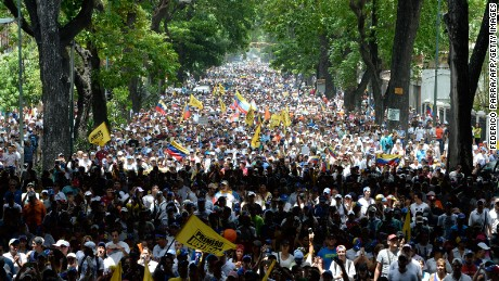 Thousands of demonstrators rally against Venezuelan President Nicolas Maduro in Caracas on April 19, 2017.