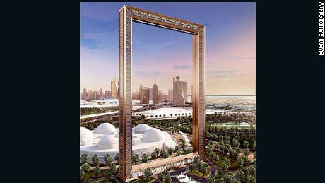 A digitalized image of what the Dubai Frame will look like once construction is completed.