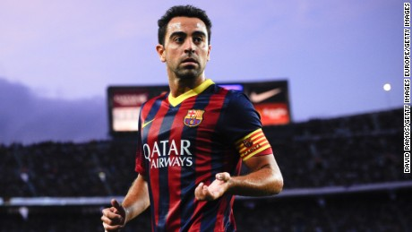 BARCELONA, SPAIN - SEPTEMBER 14:  Xavi Hernandez of FC Barcelona looks on  during the La Liga match between FC Barcelona and Sevilla FC at Camp Nou on September 14, 2013 in Barcelona, Spain.  (Photo by David Ramos/Getty Images)
