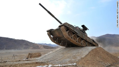 "This undated picture released from North Korea's official Korean Central News Agency (KCNA) on April 1, 2017 shows the Korean People's Army Tank Crews' Competition-2017 at an undisclosed location. / AFP PHOTO / KCNA VIA KNS / STR / South Korea OUT / REPUBLIC OF KOREA OUT   ---EDITORS NOTE--- RESTRICTED TO EDITORIAL USE - MANDATORY CREDIT ""AFP PHOTO/KCNA VIA KNS"" - NO MARKETING NO ADVERTISING CAMPAIGNS - DISTRIBUTED AS A SERVICE TO CLIENTS THIS PICTURE WAS MADE AVAILABLE BY A THIRD PARTY. AFP CAN NOT INDEPENDENTLY VERIFY THE AUTHENTICITY, LOCATION, DATE AND CONTENT OF THIS IMAGE. THIS PHOTO IS DISTRIBUTED EXACTLY AS RECEIVED BY AFP.  /         (Photo credit should read STR/AFP/Getty Images)"