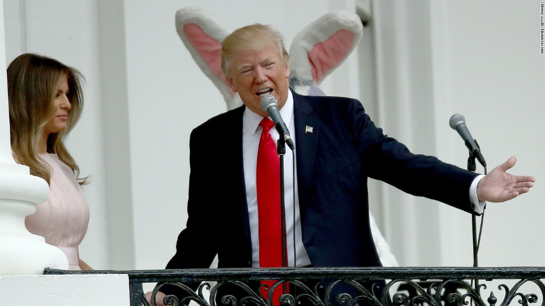 "US President Donald Trump and first lady Melania Trump welcome guests to the White House during the <a href=""http://www.cnn.com/2017/04/17/politics/white-house-easter-egg-roll/index.html"" target=""_blank"">139th Easter Egg Roll</a> on Monday, April 17."