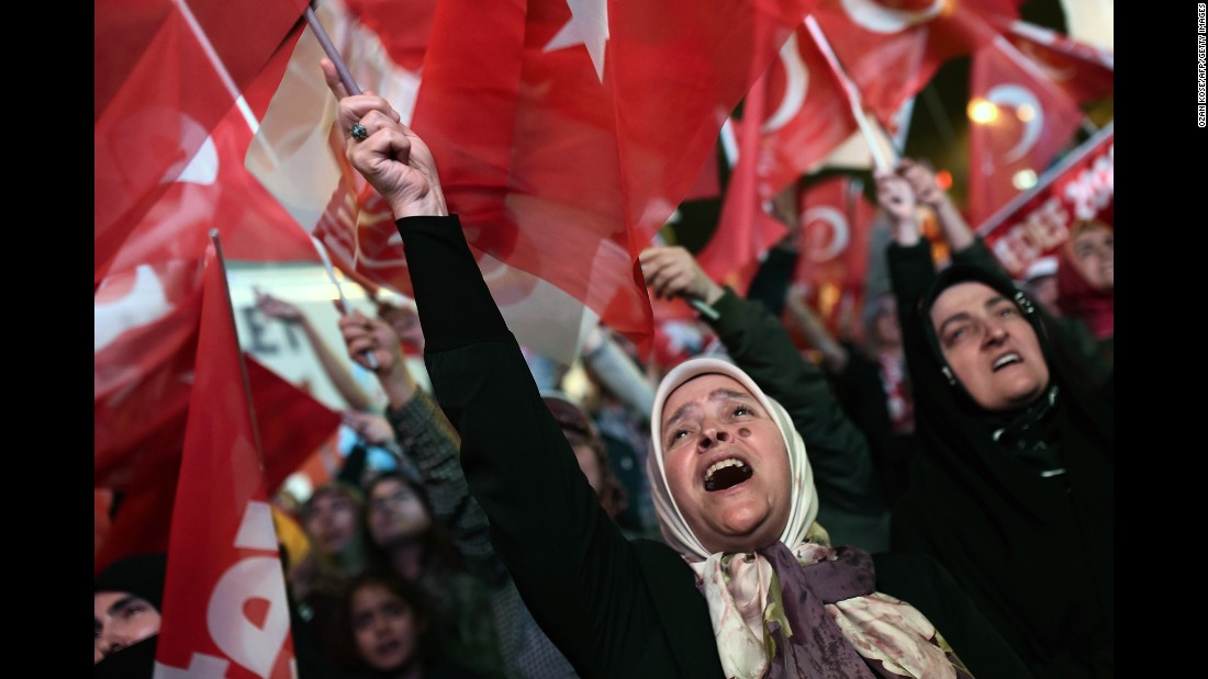 "A supporter of Turkish President Recep Tayyip Erdogan celebrates in Istanbul during a rally near the conservative Justice and Development Party headquarters on Sunday, April 16. Turkish voters <a href=""http://www.cnn.com/2017/04/17/europe/turkey-referendum-explainer/index.html"" target=""_blank"">passed a constitutional referendum</a> that will transform the country's parliamentary system into a powerful executive presidency. The plan gives Erdogan sweeping and largely unchecked powers; <a href=""http://www.cnn.com/2017/04/18/europe/erdogan-turkey-interview/"" target=""_blank"">Erdogan insists</a> the reforms don't make him a dictator."