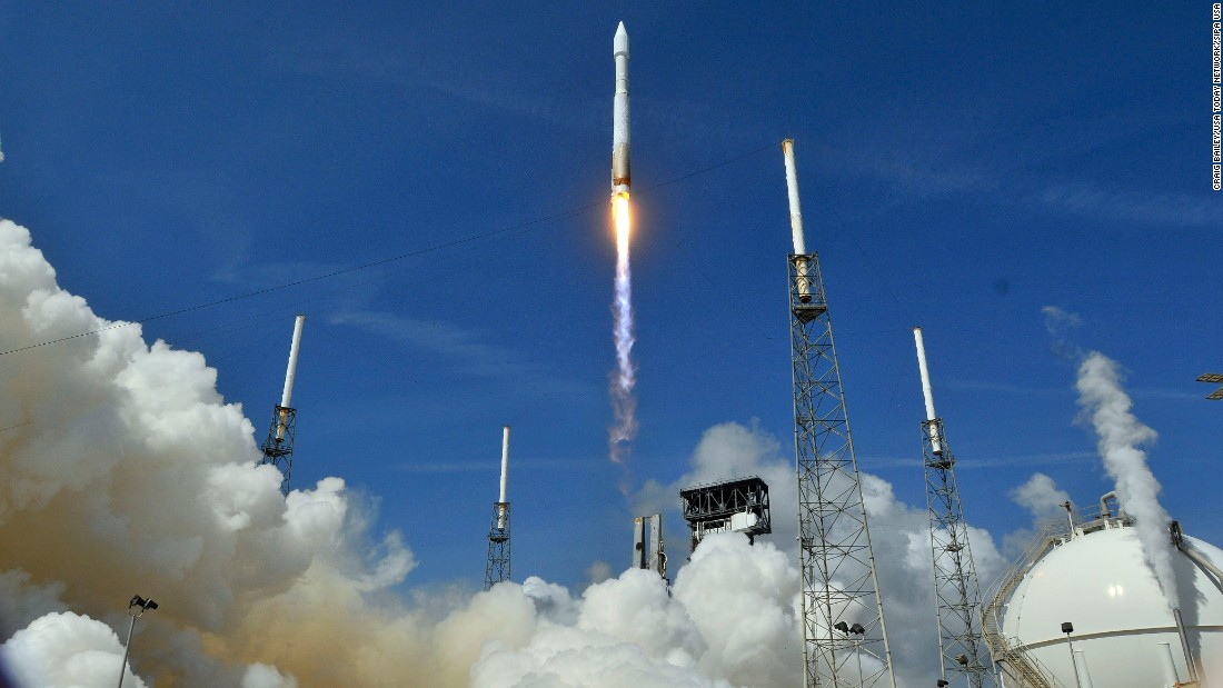 An Atlas V rocket at the Cape Canaveral Air Force Station lifts off in Cape Canaveral, Florida, on Tuesday, April 18. The rocket was carrying cargo for the International Space Station.