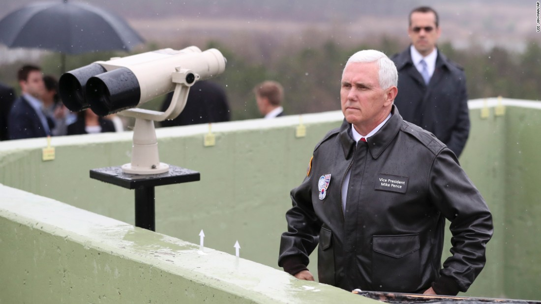 "US Vice President Mike Pence looks toward the North on Monday, April 17, while visiting the Observation Post Ouellette near the Korean border village of Panmunjom. <a href=""http://www.cnn.com/2017/04/16/politics/us-north-korea-dmz-vice-president-pence/"" target=""_blank"">Pence visited</a> a military base near the Demilitarized Zone a day after North Korea conducted a <a href=""http://www.cnn.com/2017/04/15/asia/north-korea-missile-test/index.html"" target=""_blank"">failed missile launch</a>."