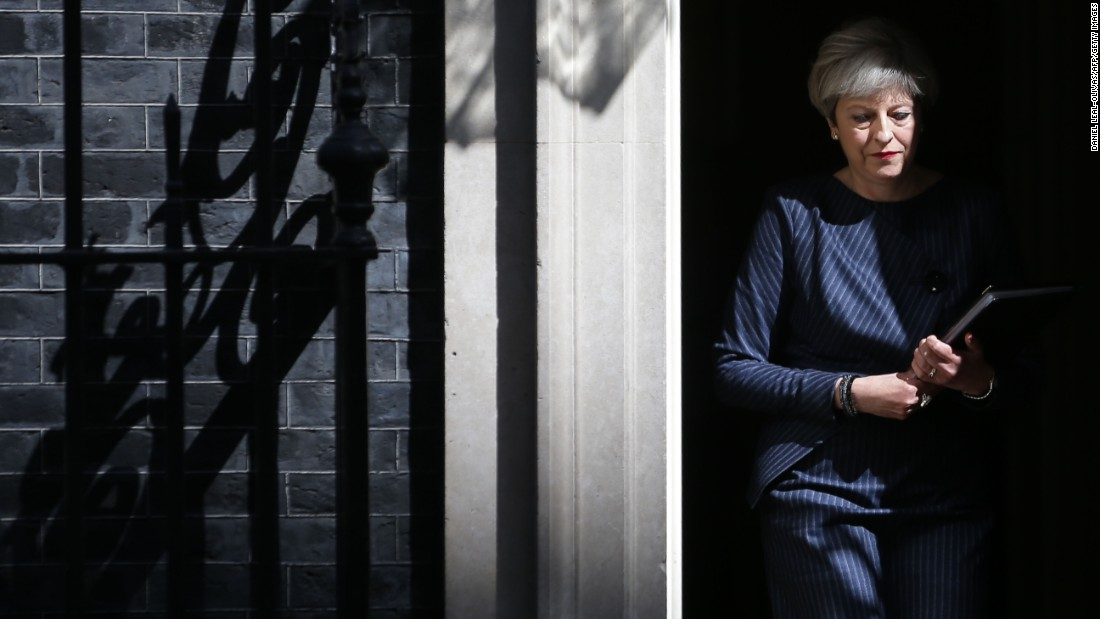 "British Prime Minister Theresa May walks out of 10 Downing Street in London as she prepares to speak to the media on Tuesday, April 18. May made an <a href=""http://www.cnn.com/2017/04/18/europe/theresa-may-election-full-statement/index.html"" target=""_blank"">unexpected announcement</a> that she would seek a <a href=""http://www.cnn.com/2017/04/18/europe/uk-snap-election-theresa-may/index.html"" target=""_blank"">""snap"" election</a> on June 8. Members of Parliament later <a href=""http://www.cnn.com/2017/04/19/europe/uk-election-theresa-may/index.html"" target=""_blank"">approved</a> her plan."
