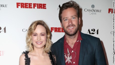 "HOLLYWOOD, CA - APRIL 13:  Actors Brie Larson and Armie Hammer attend the premiere of A24's ""Free Fire"" at ArcLight Hollywood on April 13, 2017 in Hollywood, California.  (Photo by Frederick M. Brown/Getty Images)"