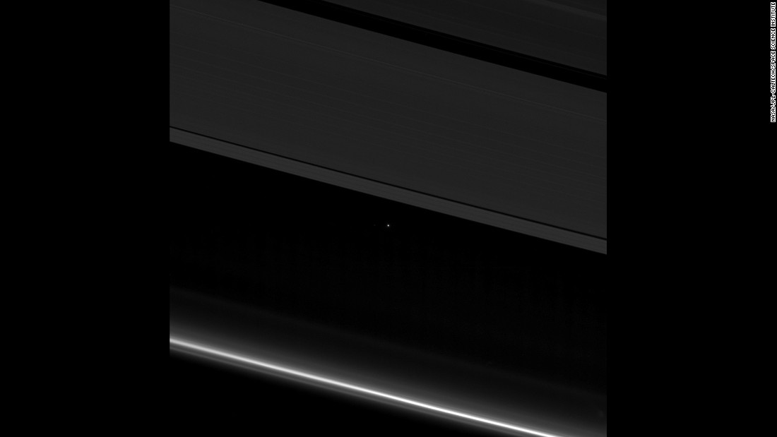 "See that tiny dot between Saturn's rings? That's Earth, as captured by the Cassini mission on April 12. ""Cassini was 870 million miles away from Earth when the image was taken,"" according to NASA. ""Although far too small to be visible in the image, the part of Earth facing Cassini at the time was the southern Atlantic Ocean."" Much like the famous ""<a href=""https://www.nasa.gov/jpl/voyager/pale-blue-dot-images-turn-25"" target=""_blank"">pale blue dot</a>"" image captured by Voyager 1 in 1990, we are but a point of light when viewed from the furthest planet in the solar system."