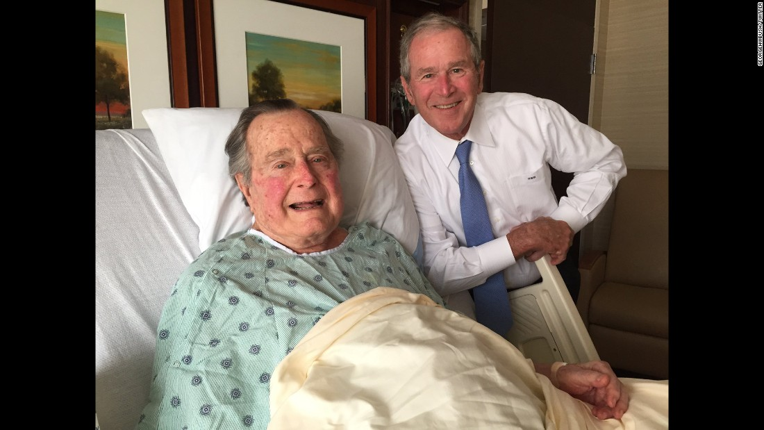"Former President George H.W. Bush posted this photo to Twitter on Thursday, April 20. Bush was admitted to a Houston hospital for pneumonia earlier in the week. ""Big morale boost from a high level delegation. No father has ever been more blessed, or prouder,"" he wrote about the photo, which shows his son, former President George W. Bush, by his side."