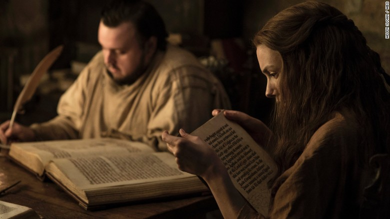 John Bradley as Samwell Tarly and Hannah Murray as Gilly