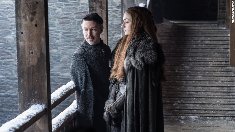 "Aidan Gillen as Petyr ""Littlefinger"" Baelish and Sophie Turner as Sansa Stark"