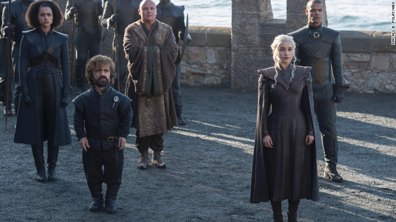 (Left to Right) Nathalie Emmanuel as Missandei, Peter Dinklage as Tyrion Lannister, Conleth Hill as Varys, Emilia Clarke as Daenerys Targaryen and Jacob Anderson as Grey Worm