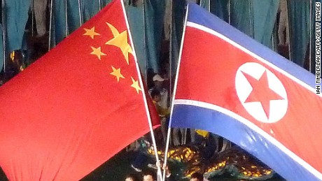 North Korea's mass games regularly features the flags of both North Korea and China. The two countries have been longtime historic allies since the Korean War, although some observers believe relations have cooled recently.