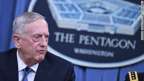 "US Secretary of Defense James Mattis takes part in a briefing at the Pentagon in Washington, DC on April 11, 2017. The United States has ""no doubt"" that the regime of Syrian President Bashar al-Assad was responsible for last week's chemical attack on a rebel-held town that left dozens dead, Pentagon chief Jim Mattis said Tuesday. Mattis told reporters that Washington's military strategy in Syria had not changed even after its retaliatory missile strikes on a Syrian air base, noting ""our priority remains the defeat"" of the Islamic State group.  / AFP PHOTO / Mandel NGAN        (Photo credit should read MANDEL NGAN/AFP/Getty Images)"