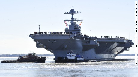 In this handout photo provided by the U.S. Navy, the aircraft carrier Pre-Commissioning Unit Gerald R. Ford departs Huntington Ingalls Industries Newport News Shipbuilding for builder's sea trials off the U.S. East Coast on April 8, 2017 in Newport News, Virginia. The first-of-class ship, the first new U.S. aircraft carrier design in 40 years, will spend several days conducting builder's sea trials, a comprehensive test of many of the ship's key systems and technologies.