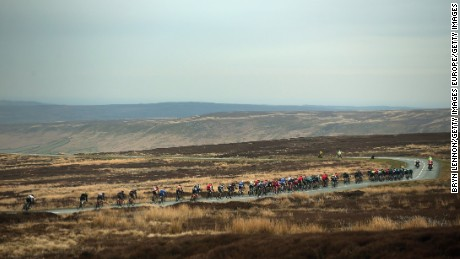 The peloton passes over the Yorkshire moors during stage three of the 2016 Tour de Yorkshire.