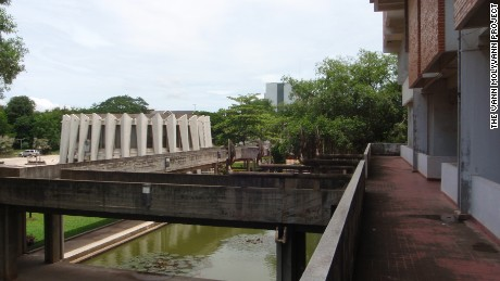 The Institute of Foreign Languages features elevated walkways and baray, a rectangular body of water that featured commonly in ancient structures from the Khmer Empire era (802-1431).
