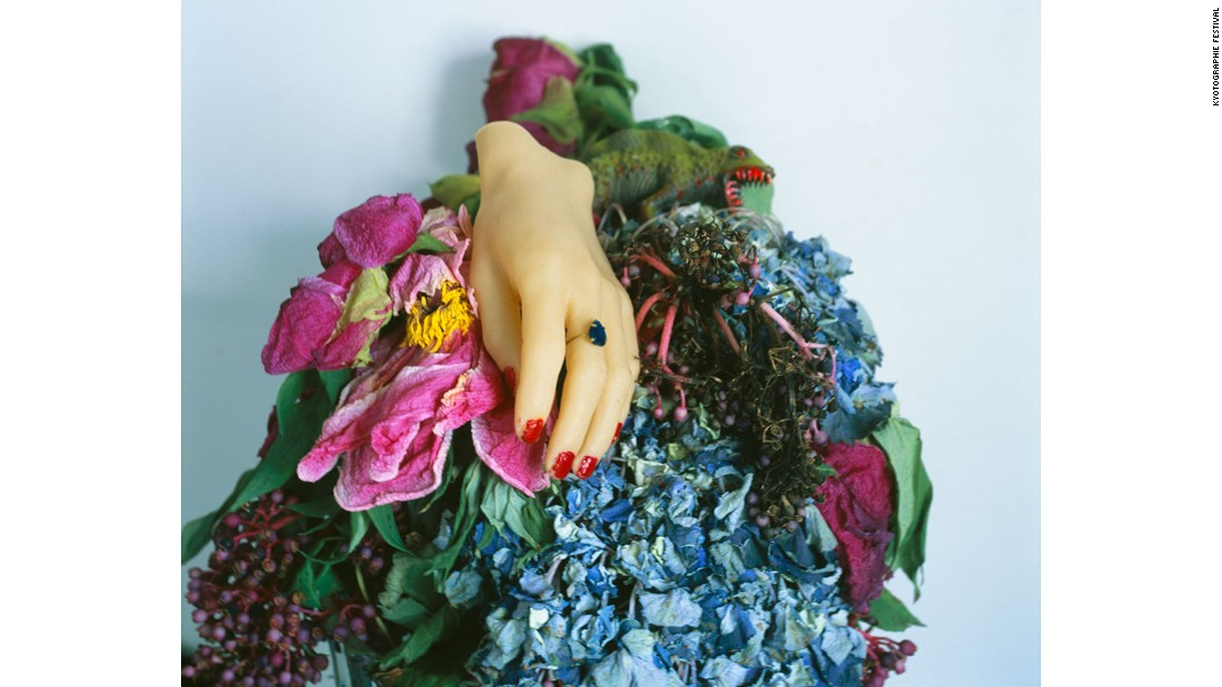 Nobuyoshi Araki's personal collection of figurines are combined with flowers and potted plants to create these compositions.