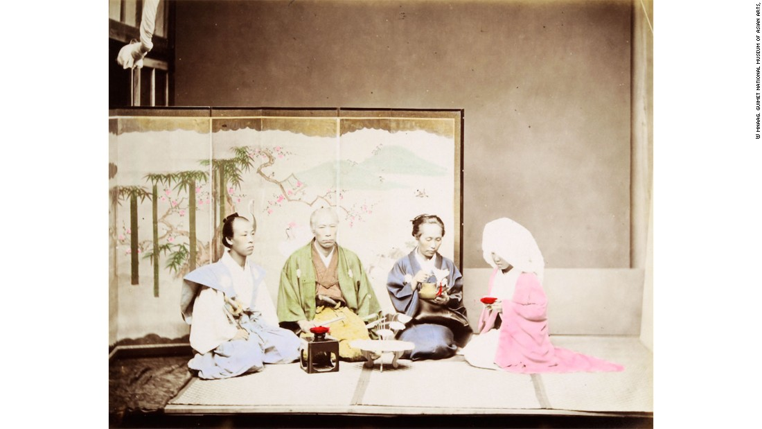 The fair features some works that are up to 100 years old. Like this image of a late 19th century Japanese wedding, with the bride and groom on the flanks.