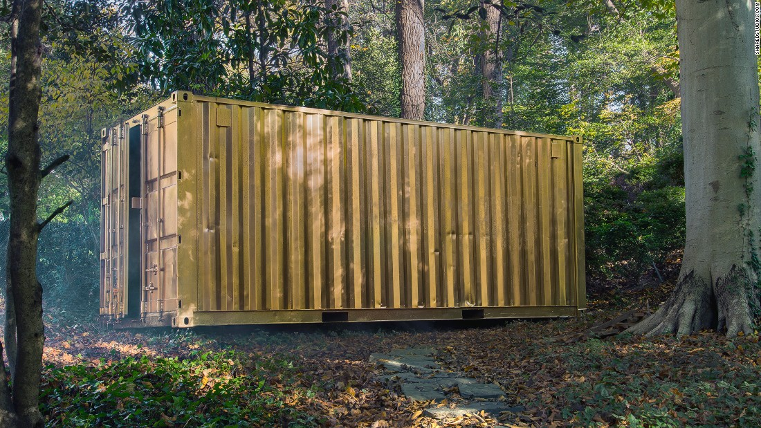 These gold-colored shipping containers open windows from one side of the world to another.
