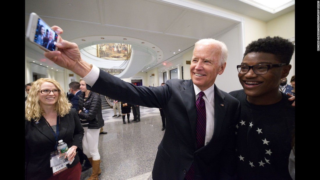 Former Vice President Joe Biden takes a selfie at the grand opening of the Museum of the American Revolution in Philadelphia on Wednesday, April 19. The former vice president was the keynote speaker at the opening.