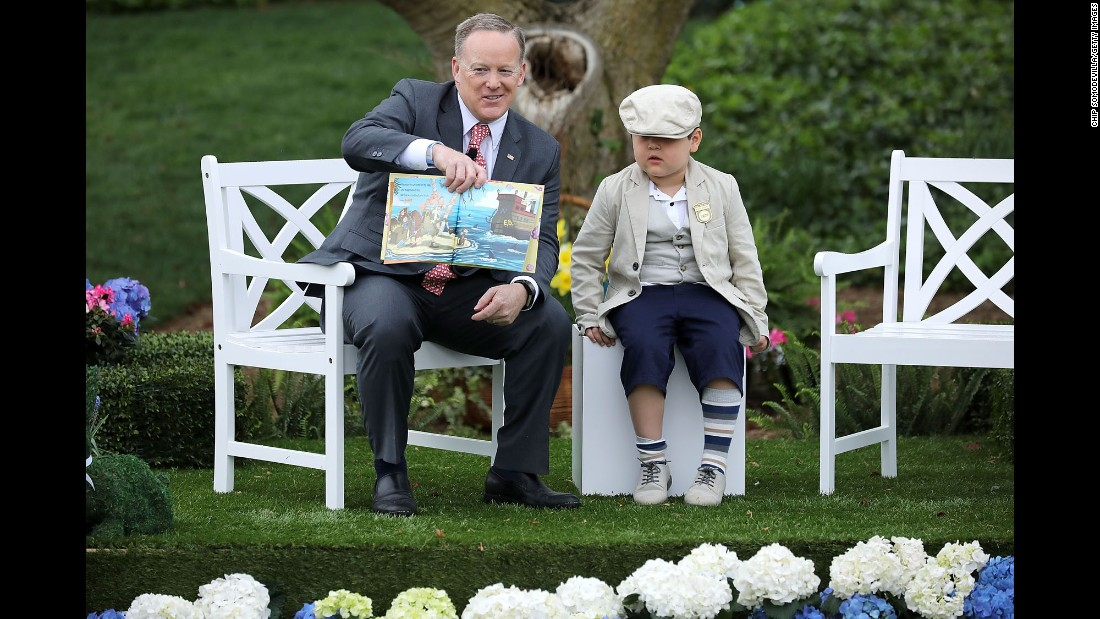 "White House Press Secretary Sean Spicer <a href=""http://www.cnn.com/2017/04/17/politics/sean-spicer-bunny-easter-egg-roll/index.html"" target=""_blank"">reads</a> ""How To Catch The Easter Bunny"" to children during the <a href=""http://www.cnn.com/2017/04/17/politics/white-house-easter-egg-roll/index.html"" target=""_blank"">139th Easter Egg Roll</a> at the White House on Monday, April 17."